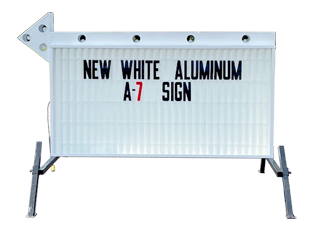Portable Flashing Arrow Sign Double Sided White Aluminum With White Face MODEL A-7