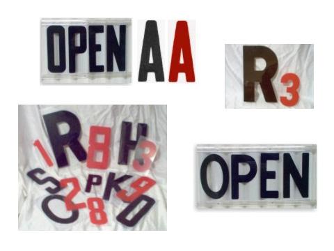 letters - block, condensed, hi-impact style
